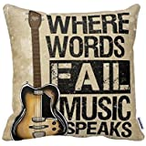 Decorbox Where Words Fall Music Speaks Quote Throw Pillow Case Vintage Cushion Cover Guitar Pillowcase Twin Sides (18x18, color12)