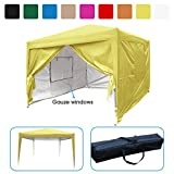 Quictent Privacy 10×10 EZ Pop Up Canopy Tent Gazebo Instant Folding Party Tent with 4 Sidewalls and Mesh Windows 100% Waterproof (Yellow) For Sale