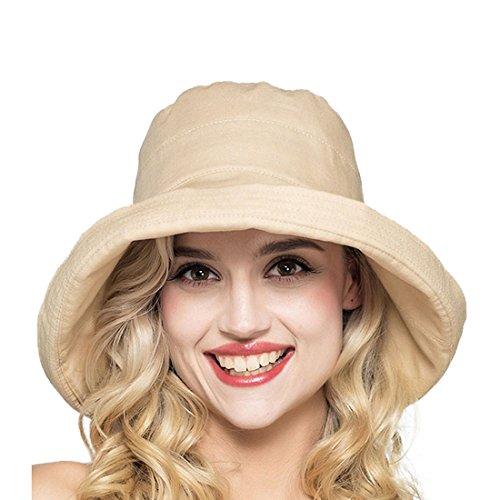 LLmoway Ladies Cotton Sun Hat UV Protection Floppy Bucket Hats for Women Wide Brim Caps UPF50+ Khaki