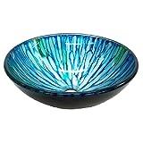 Eden Bath EB-GS44 Blue & Green Magnolia Glass Vessel Sink