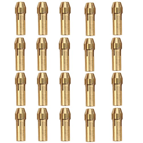 Breynet Brass Dremel Collet Bit Set For Dremel Rotary Tool, Drill Chucks Collet Bits 0.5-3.2mm Shank 20pcs