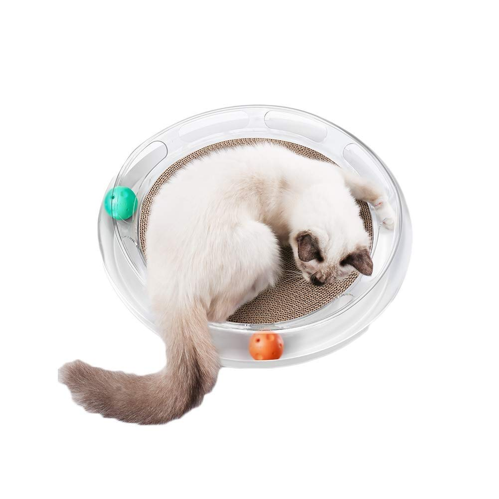 Pet Cat Toy Playground, Cat Catching Board Toy Ball Set, Corrugated Paper Cat Litter Grinding Claw Board Playing Cat Toy Supplies Comfortable Sleep Cat Litter Easy to Clean440 Mm