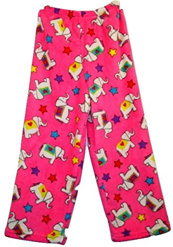 Made With Love and Kisses Super Fuzzy, Super Cozy Novelty Print Plush Pants (10/12, Fuchsia Love Elephants)