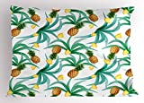 Ambesonne Hawaii Pillow Sham, Botany Inspired Traditional Luau Party Funky Polynesian Culture, Decorative Standard Size Printed Pillowcase, 26 X 20 inches, Jade Green Marigold Ginger