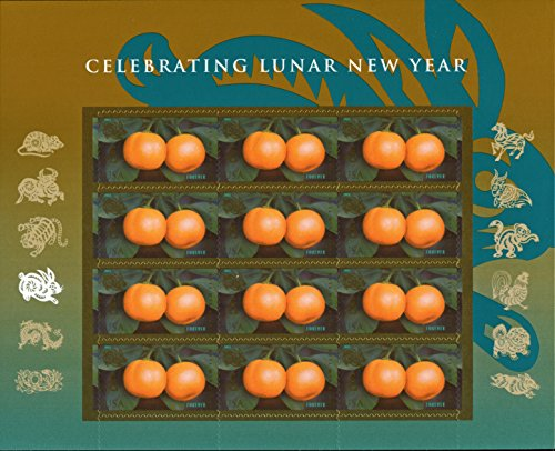 Year of the Rabbit: Kumquats (Celebrating Lunar New Year), Full Sheet of 12 x Forever Postage Stamps, USA 2011, Scott 4492 - New Year Postage
