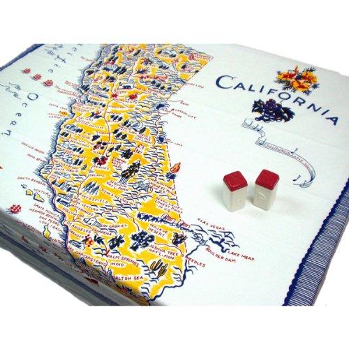 (Redandwhitekitchen California Souvenir Tablecloth 1950's)