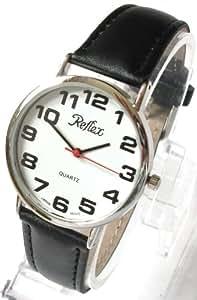 Reflex 101220GT - Reloj de pulsera para hombre (esfera con números grandes, correa de 21 cm), color negro y blanco