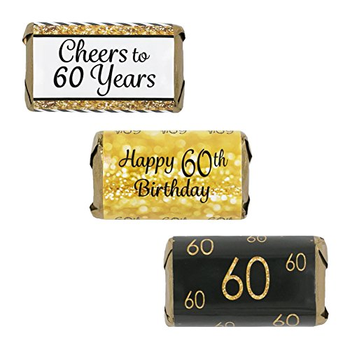 60th Birthday Party Miniatures Candy Bar Wrapper Stickers - Gold and Black (Set of 54) (Candy Bar For Party)
