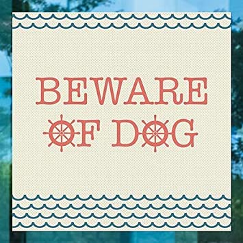 24x24 Nautical Wave Perforated Window Decal CGSignLab 5-Pack Beware of Dog