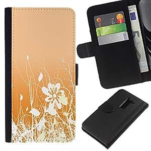 KLONGSHOP // Tirón de la caja Cartera de cuero con ranuras para tarjetas - Diseño floral blanco anaranjado Flores Campo - LG G2 D800 //
