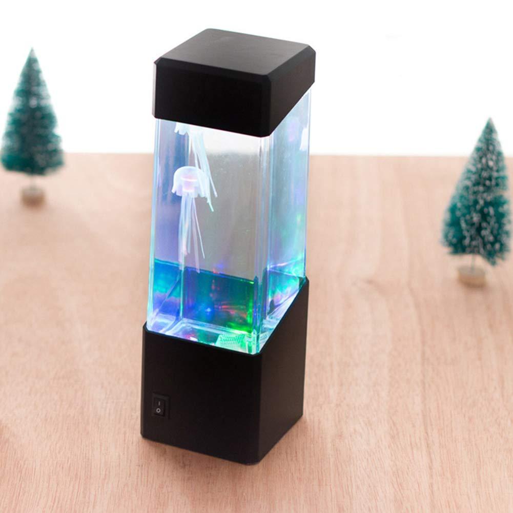 Ndier Luz de fantasía Medusas LED de Color Que Cambia la luz 5 Jelly Fish Acuario del Tanque de la lámpara del Humor para la decoración casera Negro ...