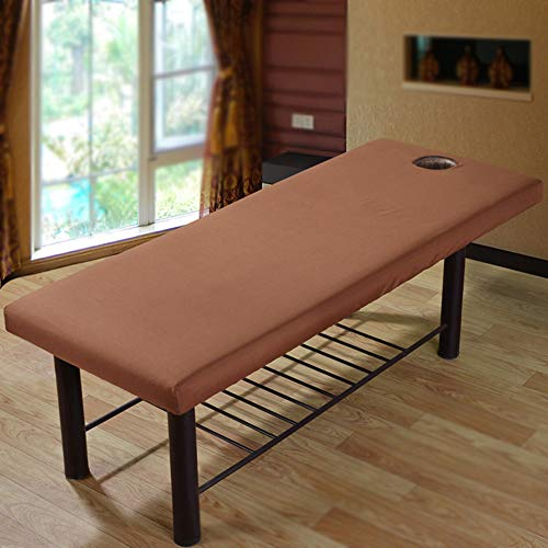 Massage Bed Cover – Soft Polyester Massage Bed Sheet with Face Hole,Elastic All-Round Wrap Beauty Salon Spa Couch Massage Table Sheet
