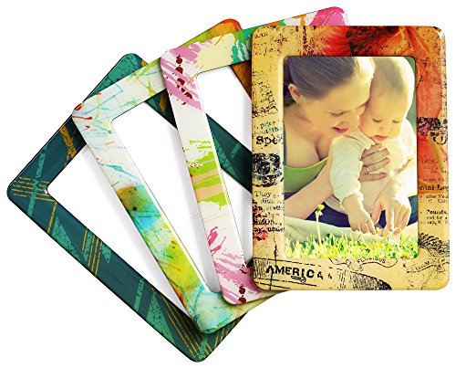 Merkapa Magnetic Photo Picture Frames and Refrigerator Magnets, Pocket Frame, Holds 4 x 6 Inches Photos, 4 Pack (Crystal, Lively Color)