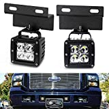 iJDMTOY Lower Grille LED Pod Light Fog Lamp Kit For 2005-07 Ford F250 F350 F450 Excursion, Includes (2) 20W CREE LED Cubes, OEM Foglamp Location Mounting Brackets & On/Off Switch Wiring Kit