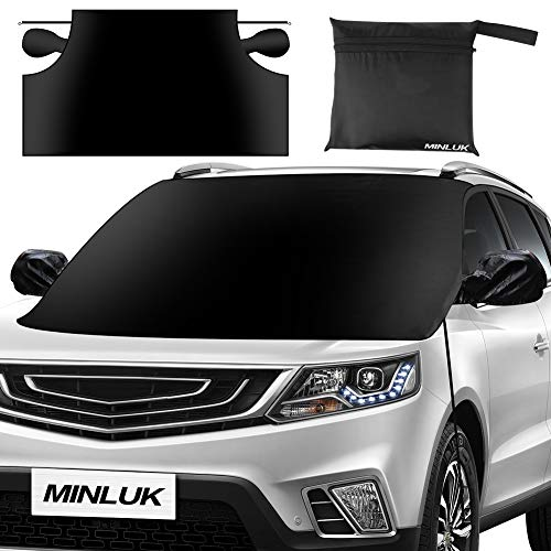 Car Windshield Snow Cover, Oversized Waterproof Car Snow Ice Removal Cover Magnetic Wiper Frost Guard Protector with Elastic Hooks and Side Mirror Covers for Most Cars/SUVs - No Scratches (85 x 61)