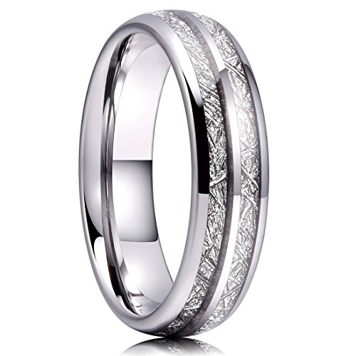Unique Silver Inlay - Three Keys 6mm Tungsten Wedding Ring for Women Domed Imitated Meteorite Inlay Silver Mens Meteorite Wedding Band Engagement Ring Promise Ring Size 11.5
