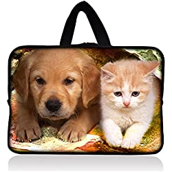 """Cute Puppy & Kitten 7"""" Neoprene Tablet Sleeve Pouch Case Bag w/ Handle For 7"""" iRulu Android 4.2 Tablet PC /Samsung Galaxy Tab 3 7"""" Android Tablet /7.9"""" Apple iPad mini Tablet /Ematic 7"""" Google Android 4.2 Tablet /Proscan 7"""" Android 4.0 Touchscreen Tablet /Barnes & Noble NOOK Tablet 7"""" Touchscreen /Lenovo IdeaTab 7"""" Tablet /Chromo 7"""" Android Tablet /Kurio 7 Tablet Android 4.0 /HP Tablet Series 7 /ASUS Google Nexus 7 2nd Gen 7"""" Android Tablet /Amazon Kindle Fire Tablet FY-HS7-005"""