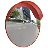 24'' Round Outdoor Convex Traffic Mirror PC Plastic Orange Wall Stand Safety Mirror Traffic Security Shop Driveway Blind Spot Hidden-Extends your field of view to increase Safety