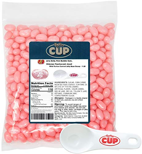 - Jelly Belly Jelly Beans - Pink Bubble Gum Shimmer Pearlescent Jewel 1 Pound Bag - with By The Cup Portion Control Jelly Bean Scoop