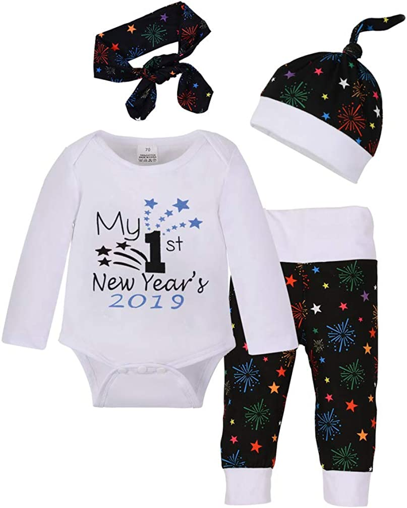 UK My 1st New Year Gift Infant Baby Boys Girls Romper Pants Outfits Clothes 3PCS