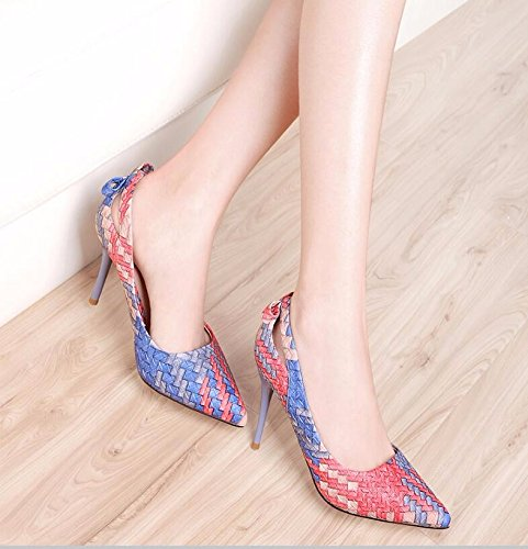 KHSKX High Of 37 Slim Heeled Foot Shoes The Women Single Orange Woman Stylish And New Tip Shoe Fashion Wear 8Cm rAqwprxHE