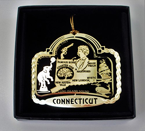 Connecticut State Brass Ornament Black Leatherette Gift Box by I Love My State