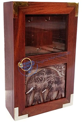 Hand Crafted Premium Wooden Key Box | Elephant Wood Carving | Keys Hanging Cabinet | Nagina International - Exclusive Wooden Elephant