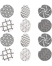 Yarlung 12 Pack Car Cup Holder Coasters with Finger Notch, Ceramic Absorbent Drinks Mat Easy Removal for Car, Living Room, Kitchen, Coffee Bar, Office