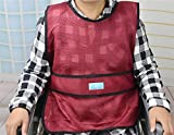 LUCKYYAN Patient Breathable Vest Restraint - Wheelchair Safety Horse Clamp - Elderly Chair Fixed Clothes , red wine , m