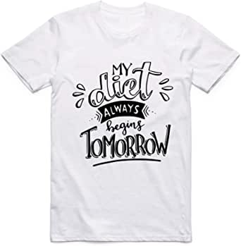 White My Dite allways begins Tomorrow T-Shirt For Men - size 3XL