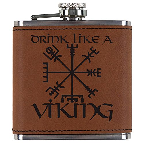 Old Glory Drink Like A Viking Vegvisir Nordic Compass Etched Leatherette Flask Rawhide Standard One Size