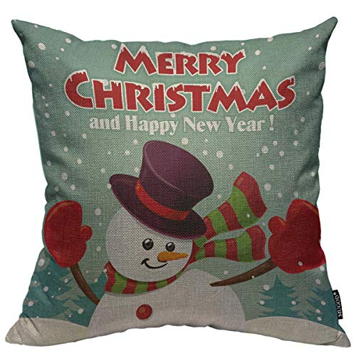 Mugod Snowman Decoration Throw Pillow Cushion Covers Merry Christmas and Happy New Year Print Funny Pillows Home Decor Couch Pillow Case 18 X 18 Inch ()