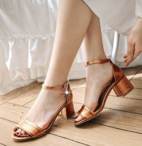 Aisun Women's Dressy Ankle Strap Block Heels Sandals Shoes Orange Mhwz41fKp2