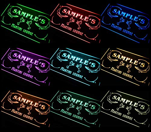 ADVPRO Multi Color Name Personalized Custom Martini Lounge Cocktails Bar Wine Neon Light Sign Remote Control, 20 Colors, 19 Dynamic Modes, Speed & Brightness Adjustable 16