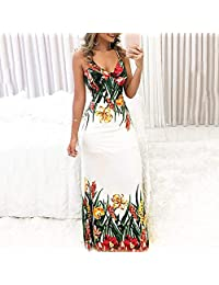 gLoaSublim Sexy Dress for Girls, Summer Party Women Sexy Floral Print V Neck Spaghetti Strap Bodycon Maxi Dress White M