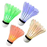 Ohuhu® LED Badminton Shuttlecock Dark Night Glow Birdies Lighting For Outdoor & Indoor Sports Activities, 4-piece