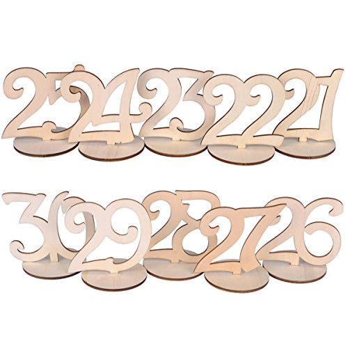 eZAKKA Table Numbers 21-30 Wood Wooden Wedding Table Numbers with Holder Base for Wedding Party Home Decoration Vintage Birthday Event Banquet Anniversary Decor Catering Reception]()