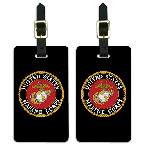 (Marines USMC Emblem Black Yellow Red Luggage ID Tags Cards Set of)