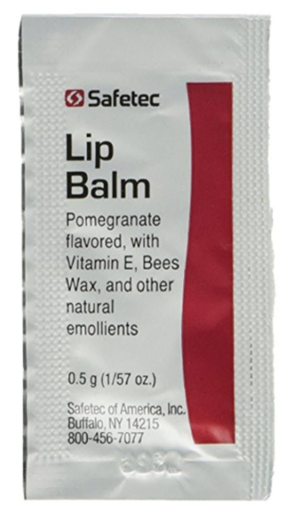 Lip Balm Pomegranate Flavored - 144 Packets/box (.5 gm each) by Safetec