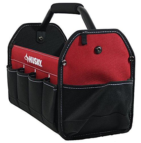 Husky 398821/ 82042N12 15 600 Denier Tool Tote with 10 External Pockets and Center Handle/