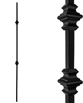 Paquete de 5 huecos de hierro para escaleras de doble nudillo – Balaustres de metal negro satinado de 1/2 x 44 pulgadas de alto para escaleras de metal: Amazon.es: Bricolaje y herramientas
