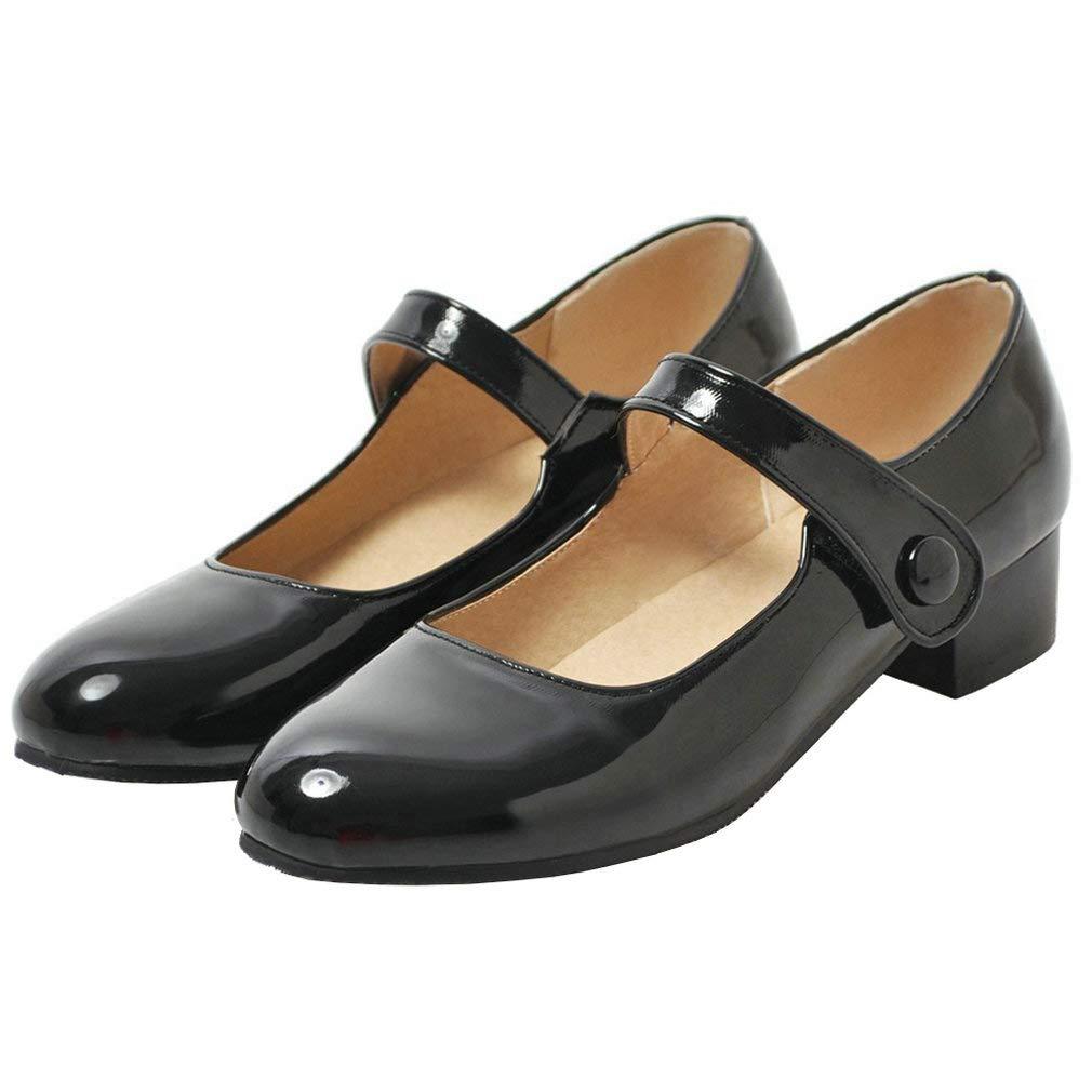 Caradise Womens Low Heel Chunky Mary Janes School Uniform Dress Shoes