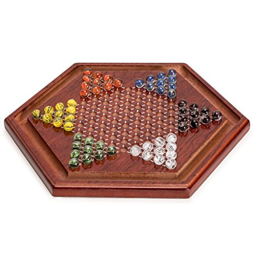 (Yellow Mountain Imports Wooden Chinese Checkers Game Set, 11.75 Inches - with 60 Colored Marbles, 16mm)