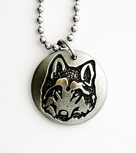 Wolf Necklace Repurposed Domed Pewter Button Pendant Animal Stainless Steel Ball ()