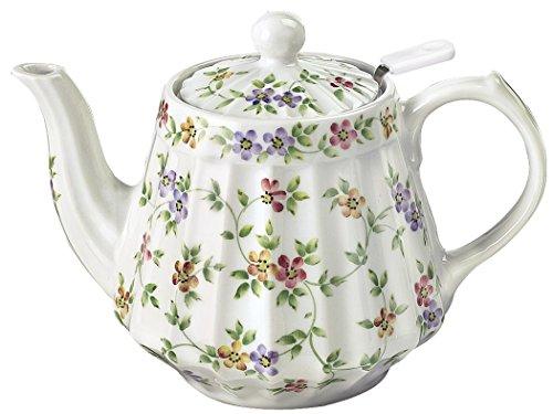 """Andrea by Sadek 6"""" H Ribbed Teapot Garden Bouquet"""