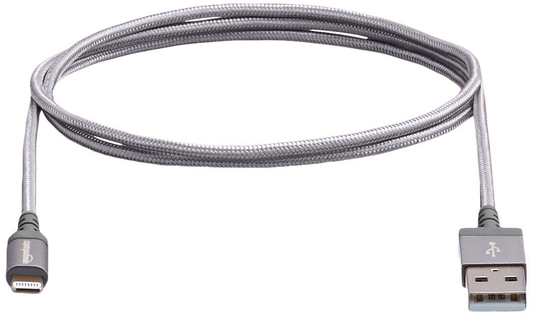 Basics C/âble tress/é en nylon Lightning vers USB Certifi/é Apple Argent/é 1,8 m