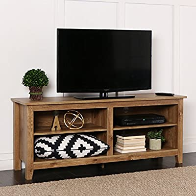 New 58 Inch Wide Barnwood Finish Television Stand - Transitional and Classic Look High-grade MDF and laminate construction Rich, textured finish - tv-stands, living-room-furniture, living-room - 51EUFLoU%2B%2BL. SS400  -