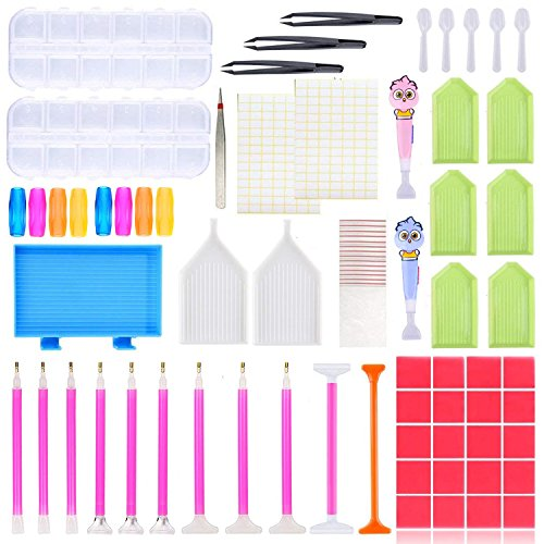 DOMIRE 5D Diamond Painting Tools, 116 PCS Diamond Painting Accessories with Embroidery Box and Cross Stitch Tools for DIY Art Craft
