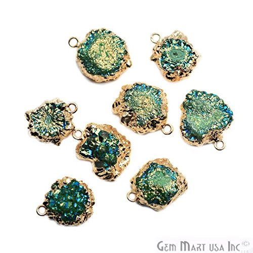 Titanium Blue with Green Druzy Pendant, 22k Gold Electroplated 14x12mm Drusy Fashion Jewelry Necklace Pendant (DE-50984)