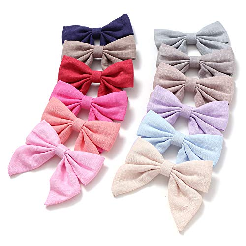 (Cotton and Linen Bow Hair Accessories Hair Bow Clip for Children Girls Pack of 12pcs (JFNY070) )